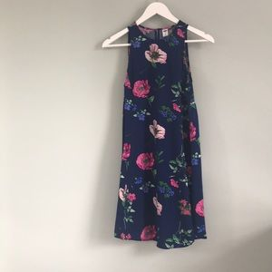 Navy Floral Swing Dress, XS